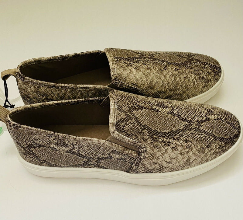 West Loop Slip On Memory Foam Faux Snake Skin Print Women's Sneakers Shoes, Small, 5/6
