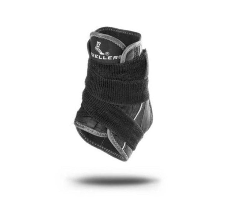 Mueller Hg80 Premium Soft Shell Left or Right Ankle Brace Support With Straps, Extra Large: Men 13-15, Women 14-16, Black