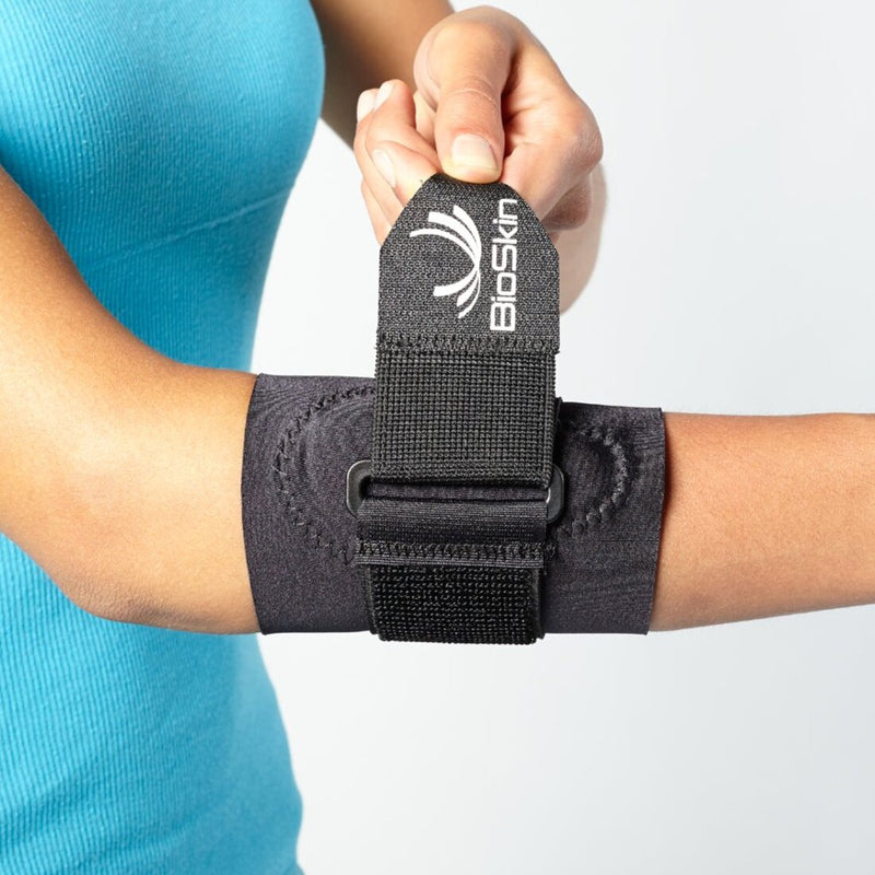 BioSkin Tennis Elbow Strap Band with Compression Pad and Supportive Strap for Pain Relief, X-Small: 8-9 Inches