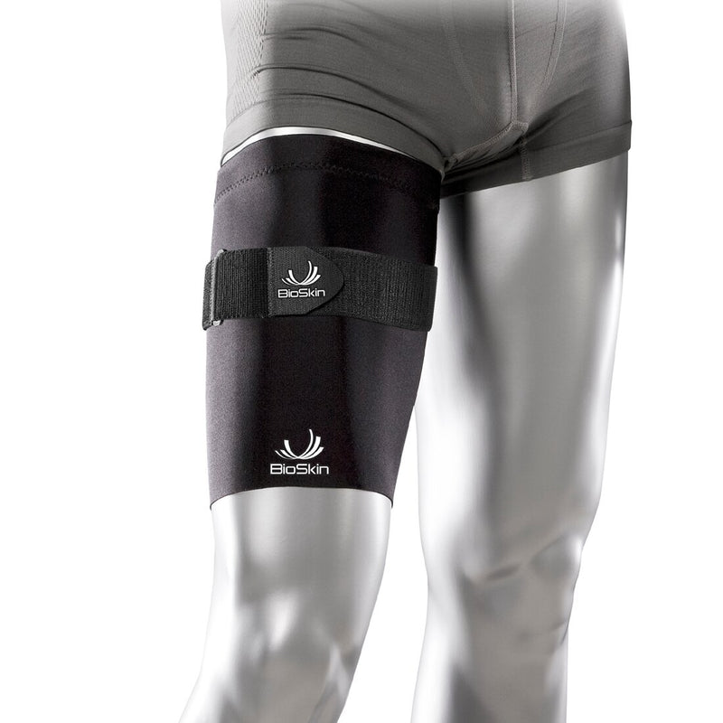 BioSkin Thighskin Thigh Sleeve with Cinch Strap and SkinLoc Feature for Increased Compression, X Small: 16 Inches - 18 Inches, Black