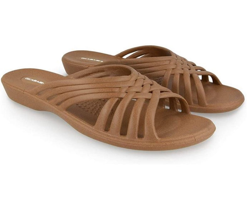 Okabashi Women's Venice Slide Sandals, Ergonomic Arch Support, Rubber Sole, Size: Large 9.5-10.5, Toffee
