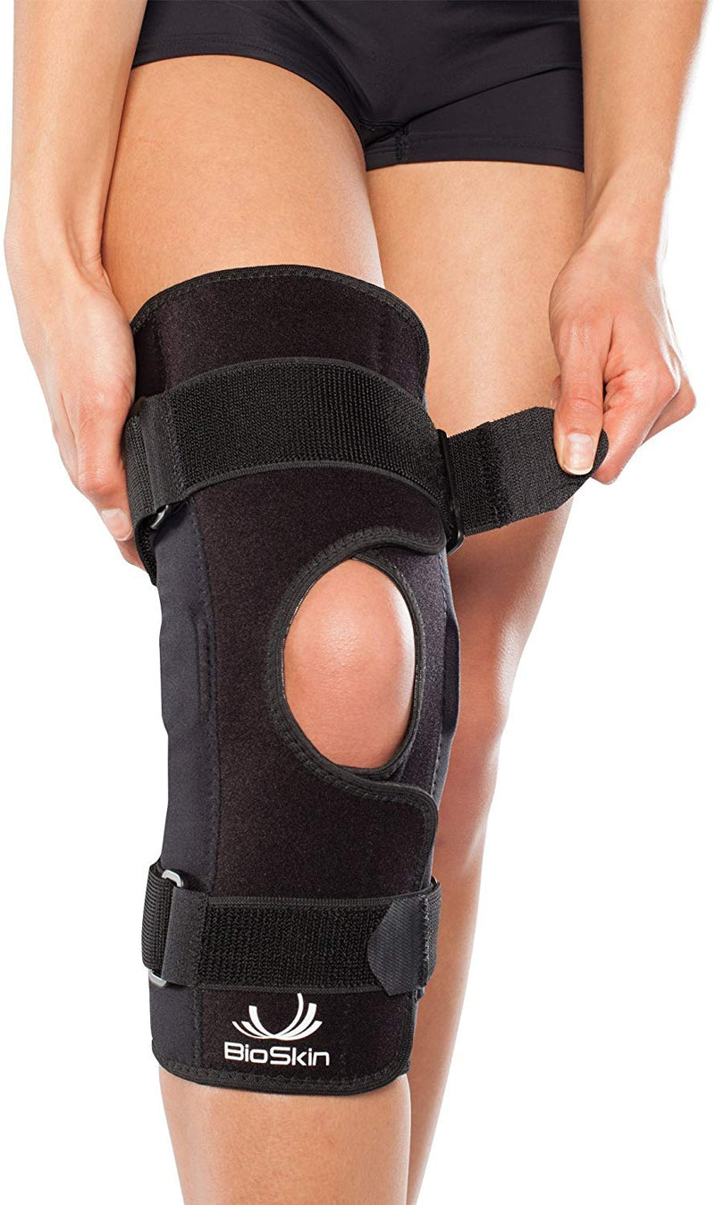 BioSkin Premium Bracing Lightweight Breathable Hinged Knee Skin Front Closure, Medium: 14 Inches - 16 Inches, Black