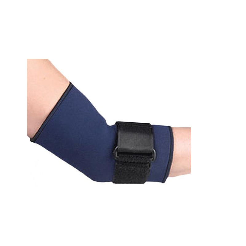 FLA Orthopedics Safe T Sport Neoprene Tennis Elbow Sleeve Soft Nylon Loop Lining, Small: 7 Inches - 9 Inches, Navy