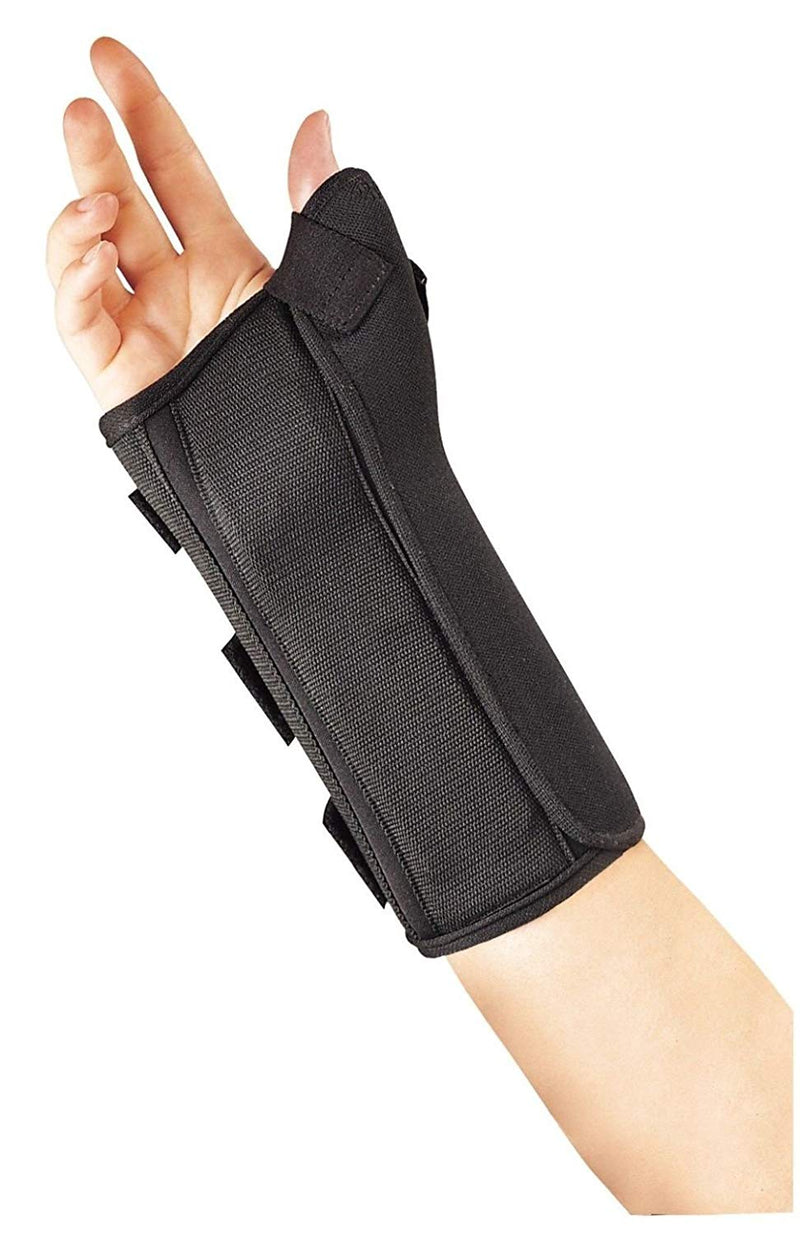 FLA Professional Right Wrist Splint with Semi-Rigid Abducted Thumb, Extra Small: 5 1/2 - 6 1/2, Black