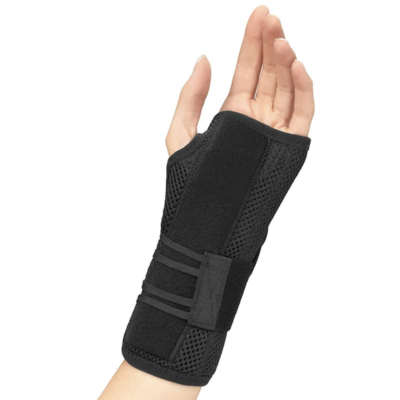 FLA Professional Left Wrist Splint With Abducted Thumb Provides Relief From Carpal Tunnel Syndrome, Extra Small, Black