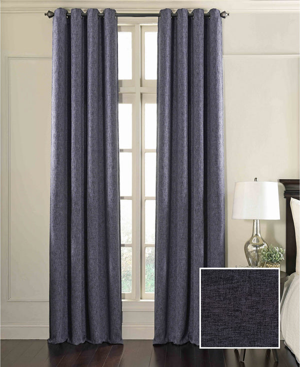 Beautyrest Arlette Blackout Panel, Feature a Heathered Solid Texture with Slight Luster, 52 Inch By 84 Inch, Midnight