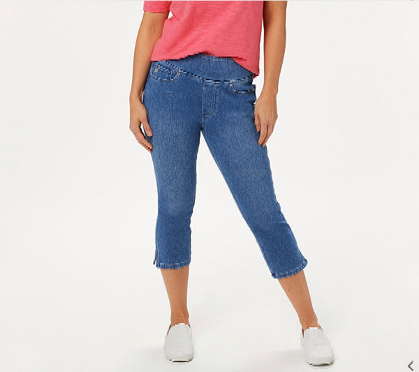 Belle by Kim Gravel Regular Flexibelle Capri Jeans, Pull-on Style, Faux Fly Detailing, Plus 22, Medium Wash