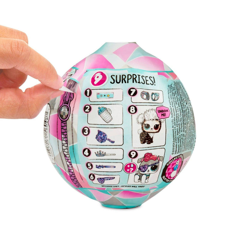 L.O.L. Surprise! Winter Disco Series Sparkly Snow Globe Fluffy Pets with Removable Fur