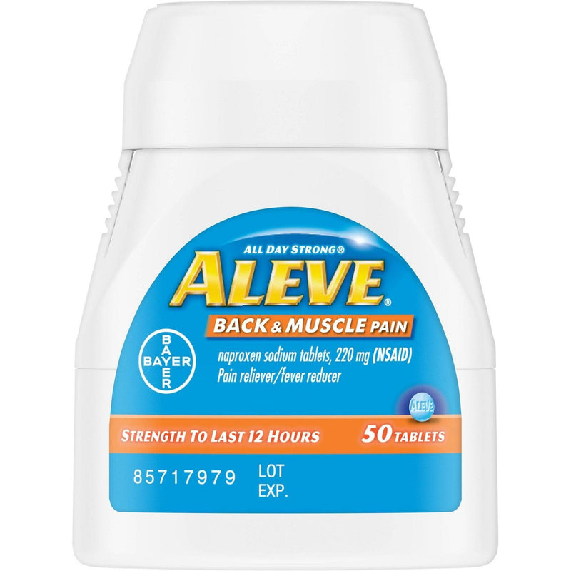 Aleve Back and Muscle Pain Relieving/Fever Reducing Naproxen Sodium Tablets, 50 Count