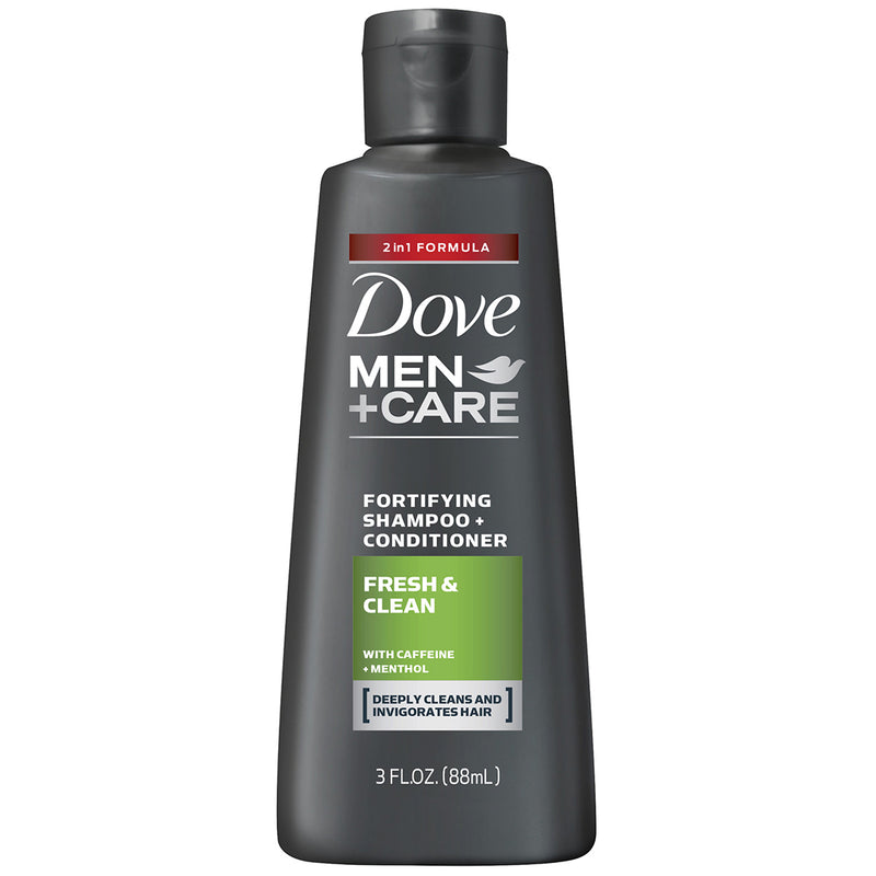 Dove Men+Care 2 in 1 Shampoo and Conditioner Fresh and Clean, Designed Specifically for Men with Fine and Thinning Hair or Concerned About Hair Loss, 3 Ounce