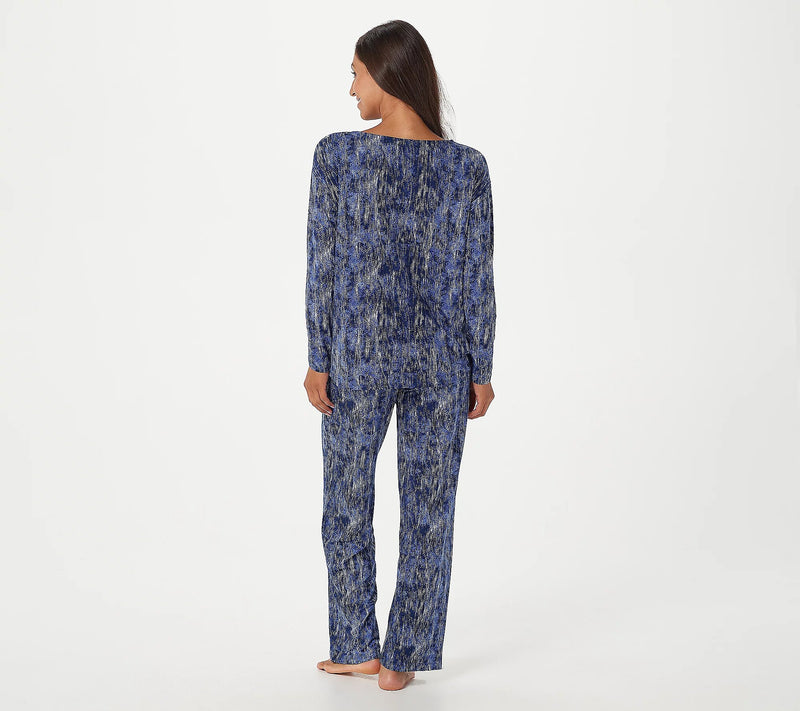Carole Hochman Textured Feather Soft Semi-Fitted Jersey Lounge Set, X-Large, Navy