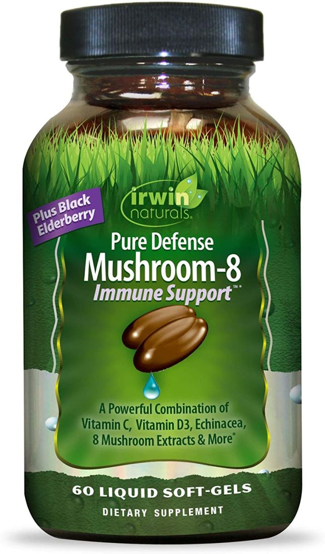 Irwin Naturals Pure Defense Mushroom-8 Powerful and Robust Immune Support Supplement with 8 Organic Mushroom Blend, 60 Liquid Softgels