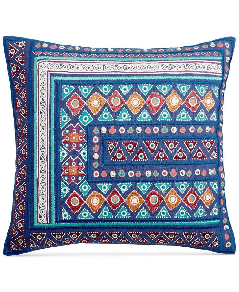 Whim by Martha Stewart Collection Mahal Cotton Embroidered 18 Inch Square Decorative Pillow, Blue