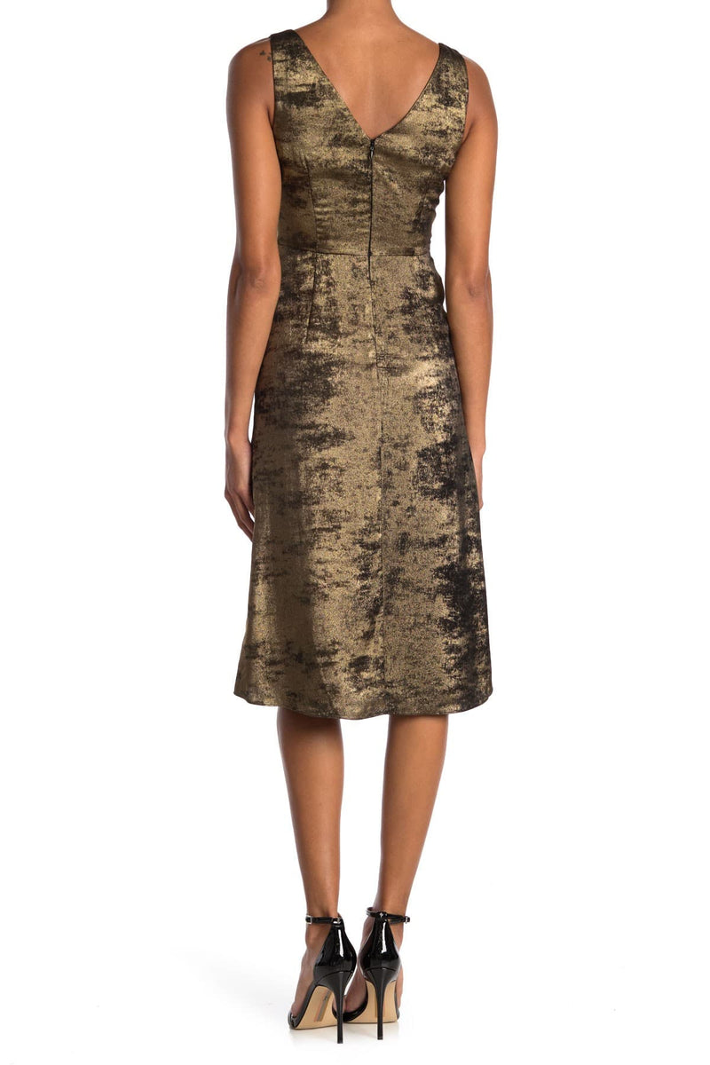 Bailey 44 Sofia 100 Percent Polyester Sleeveless Twist Front Jacquard Dress, 6, Gold