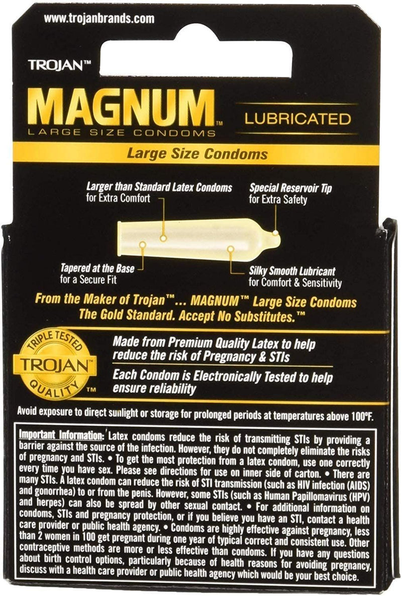 Trojan Magnum Large Size Premium Latex Lubricated Condoms, Safeguards Against Sexually-Transmitted Infections, 3 Count, Black