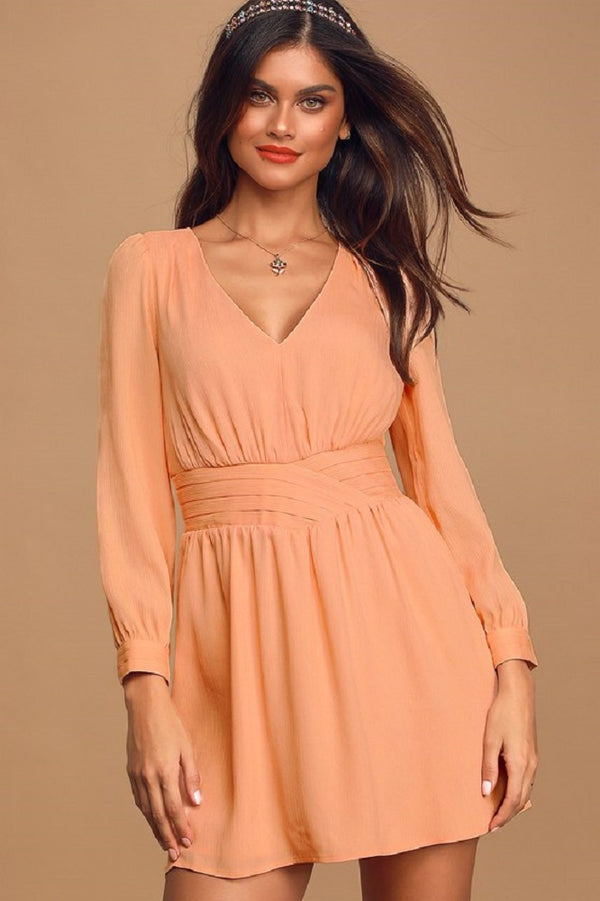 Ali & Jay Seashell Collector Peach Pleated Long Sleeve Mini Dress, X-Small, Coral