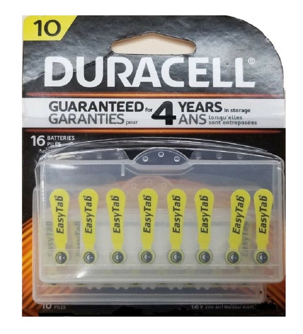 Duracell Easytab Hearing Aid Batteries Size:10, Easy to Handle and Install, 16 Count