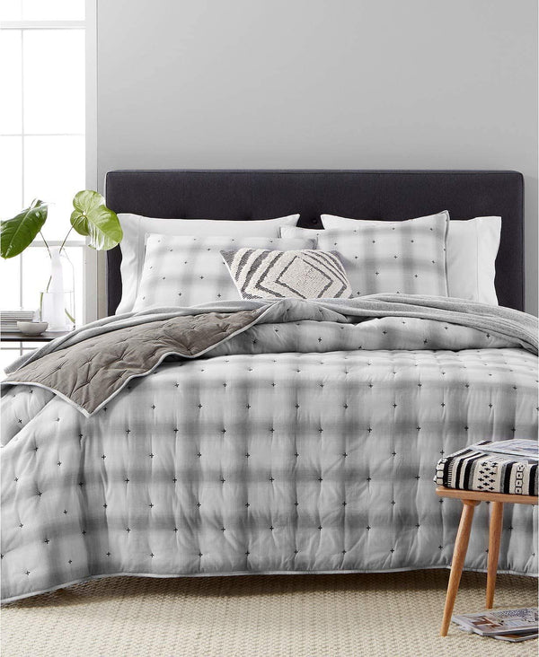 Martha Stewart Collection Cotton Reversible Plaid Mist Standard (20 Inch x 26 Inch) Quilted Sham, Grey