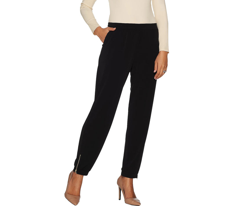 Susan Graver Regular Soft Flattering Liquid Knit Jogger Pants with Zipper Detail, Medium, Black