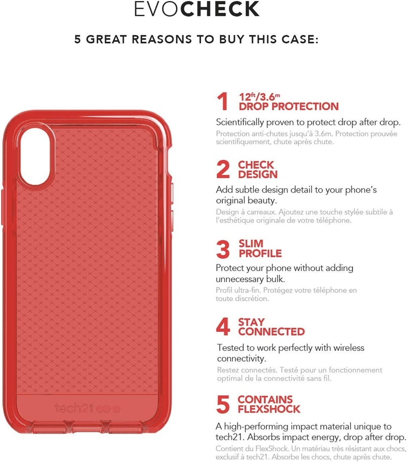 Tech21 Apple iPhone XS Max Evo Check Case with 3 Layers Protection System, Rouge