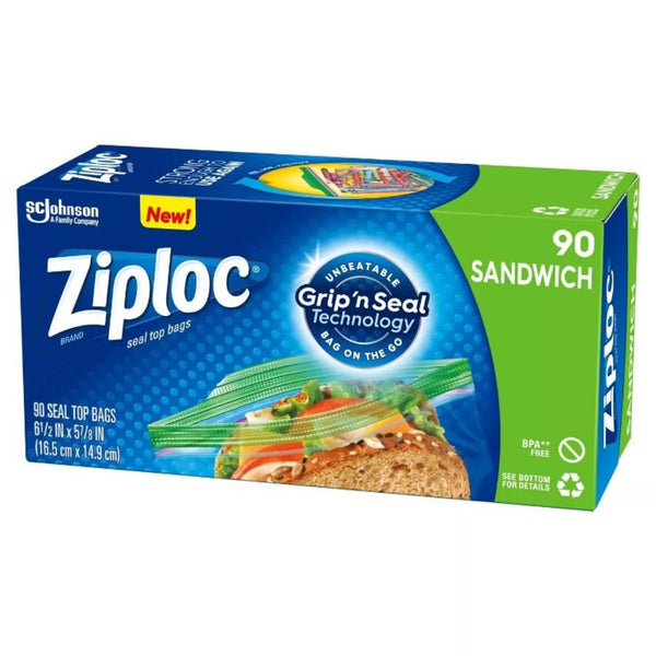 SC Johnson Ziploc Sandwich Bags with Unbeatable Grip and Seal Technology, 90 Count