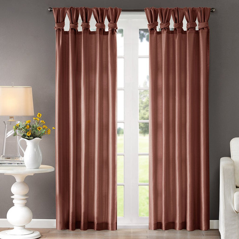 "Madison Park Emilia Twisted Tab Light Filtering Lined Curtain Panel Fits Up To A Two Diameter Rod, 50""x84"", Spice"