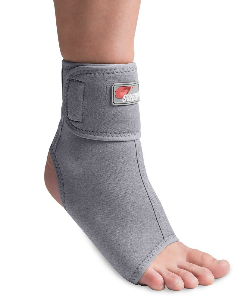 Swede-O Thermal Vent Ankle Wrap Anatomically Shaped with Adjustable Closure Strap To Enhance Comfort-Fit for Left and Right Ankle, Small: 1 Count, Gray