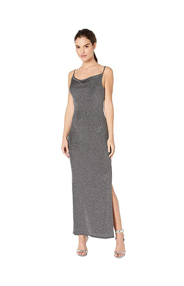 BCBGeneration Cowl Neck Tie Back Pull On Closure Sleeveless Maxi Knit Dress, Large, Black