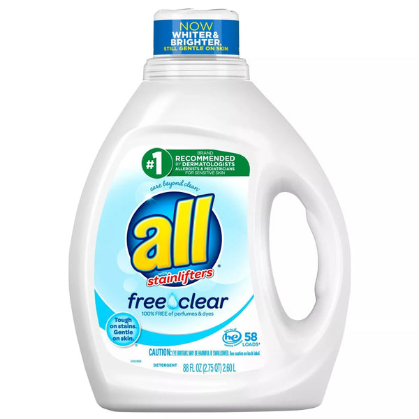 All Stainlifters Ultra Free Clear High Efficiency Liquid Laundry Detergents, Tough on Stains Gentle on Skin, 88 Ounce