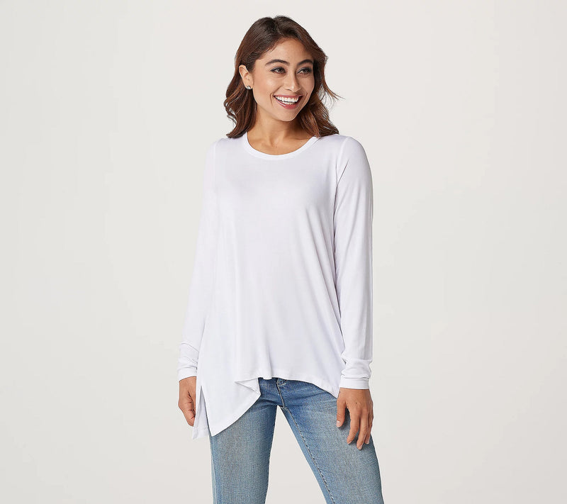 "Peace Love World ""The Ashley"" Modal Spandex Scoop Neckline Long Sleeve Top, X-large, white"