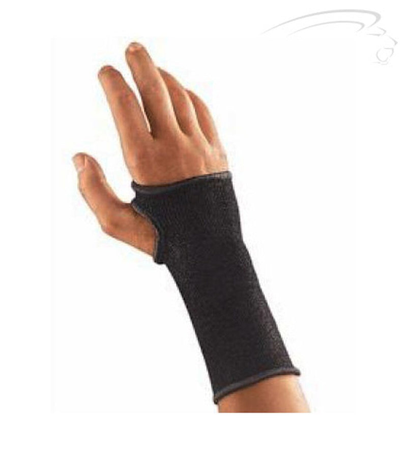 Mueller Elastic Left or Right Wrist Support Contour Design Unique Elastic Knit Material For Proper Fit and Comfort, Regular: 5 Inches to 6.5 Inches, Black