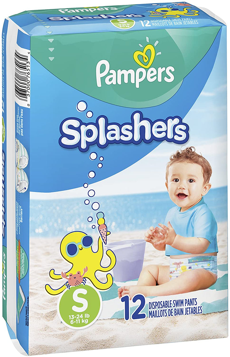 Pampers Newborn Unisex-Babies Splashers Disposable Swim Diapers Pants, Small, 12 Count