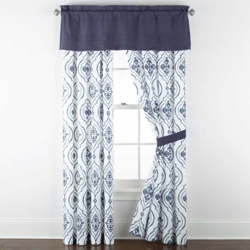 JCPenney Home Egan Rod-Pocket Single Curtain Panel, Size: 84 x 42 inches, 100% Polyester, Navy/White