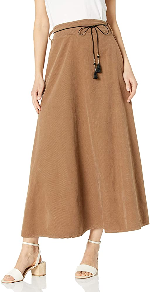 M Made In Italy 100% Cotton Women's Pull On Closure Maxi Corduroy Maxi Skirt, Large, Caramel