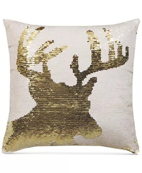 Hallmart Collectibles Reindeer Sequin 18 Inch Square Decorative Pillow, Gold/White