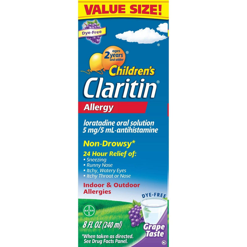Claritin Children's 24 Hour Grape Flavored Non Drowsy Allergy Medicine for Kids, 8 Ounce