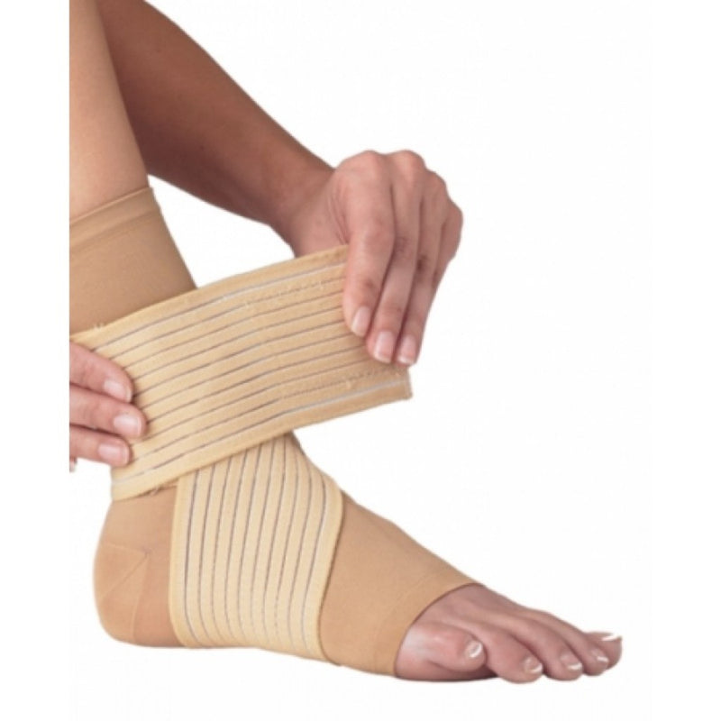 Procare DS Ankle Wrap, Double Strap, Pull-On, Hook And Loop Closure, Small: 7.5 Inches to 8.5 Inches Circumference, Beige