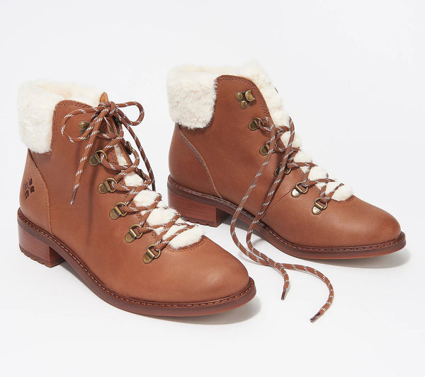 Patricia Nash True to Size Lace-Up Leather Boot with Faux Fur Trim Luigi, 10 Medium, Cinnamon