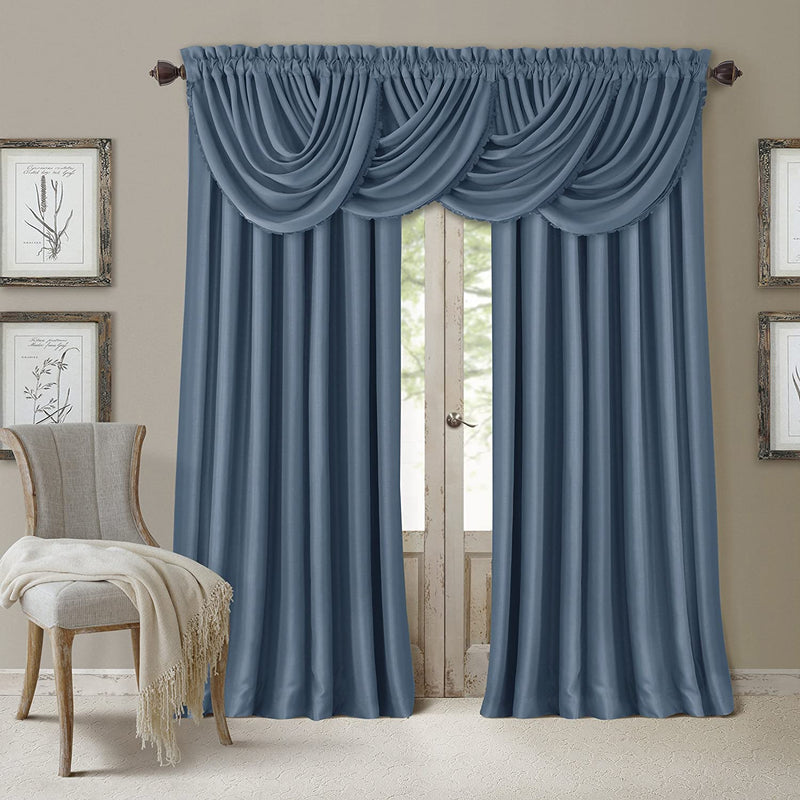 Elrene Home Fashions All Seasons Energy Efficient Room Darkening Rod Pocket Single Curtain Panel, Size: 95 x 52 inches, Dusty Blue