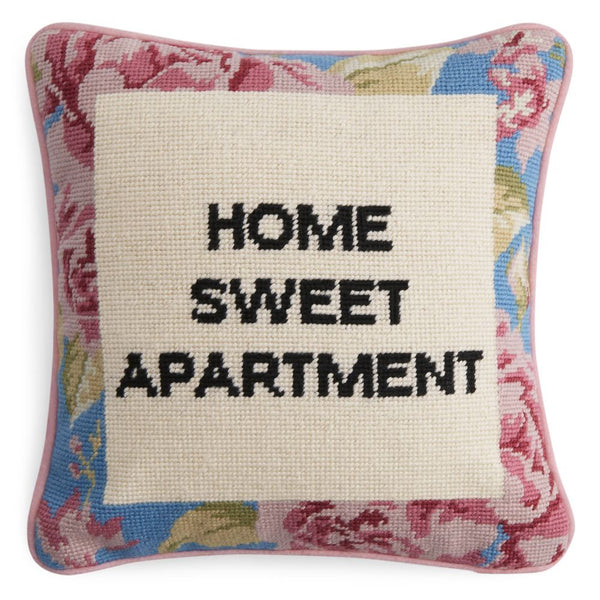 Home Sweet Apartment Hand Crafted Needlepoint Pillow with Piping, Backed in Luxurious Cotton Velveteen, 12 Inch, Pink