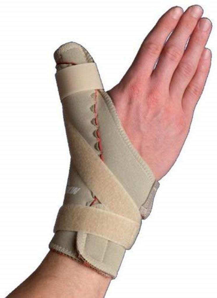 Thermoskin Thumb Spica Brace with Thumb Spica support and Trioxon Lining, Left, X Large: 9- 10 Inches, Beige