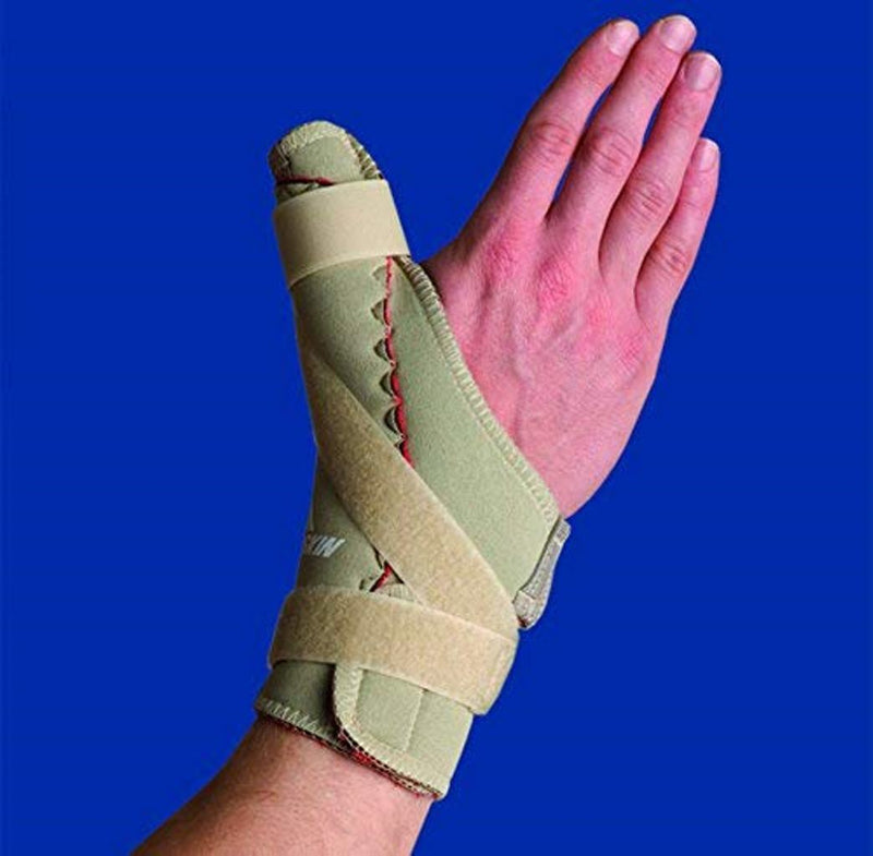 Thermoskin Right Thumb Spica Brace with Thumb Spica Support and Trioxon Lining, XX-Large: 10.25 Inches - 11.25 Inches, Beige