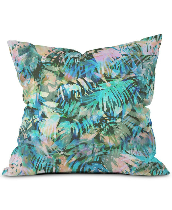 Deny Designs San Juan Aqua 16 Inch Square Throw Pillow with Polyester Cover and Fill