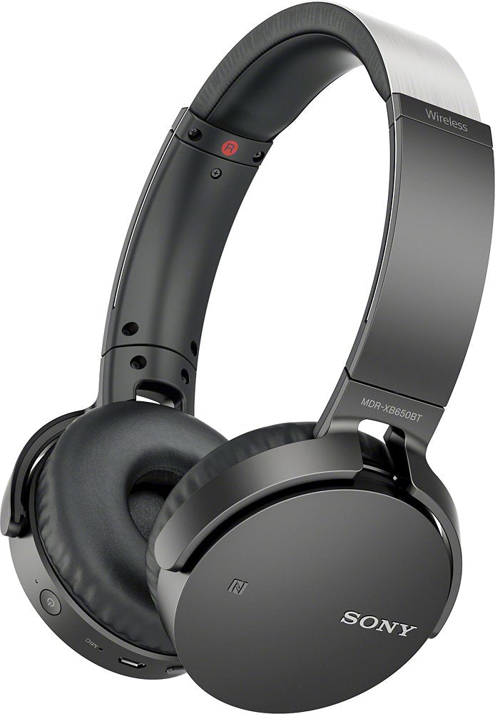 Sony XB650BT Wireless On-Ear Bluetooth Headphones with 30mm drivers, NFC, Powerful Music, Comfort Ear Pads, and Built-In Microphone, Black, MDRXB650BT/B