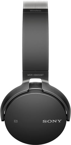 Sony XB650BT Wireless On-Ear Bluetooth Headphones with 30mm drivers, NFC, Powerful Music, Comfort Ear Pads, and Built-In Microphone, Black, MDRXB650BT/B (New Open Box)