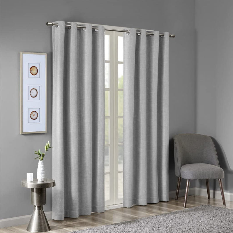 SunSmart Maya 50 x 54 Inches Printed Heathered Blackout Grommet Window Curtain Panel, Gray