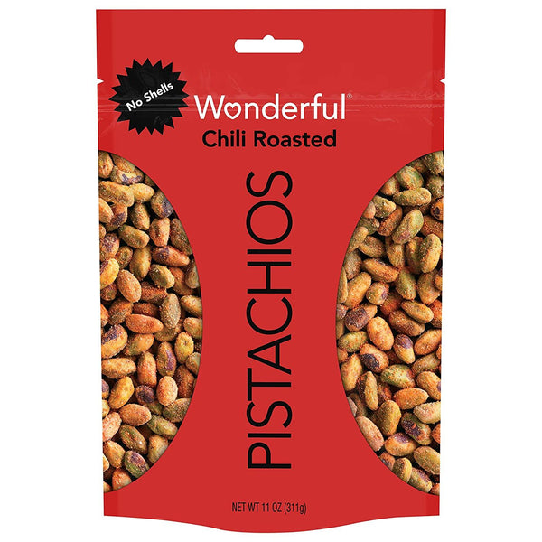 Wonderful Nutritious No Shells Resealable Chili Roasted Pouch Healthy Pistachios, 11 Ounce