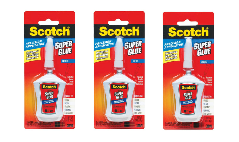 3-PACK 3M Scotch Super Liquid Quick Bonding Glue with Precision Applicator, Get Strong and Sturdy Bond, 12 Grams (4 Grams Each)