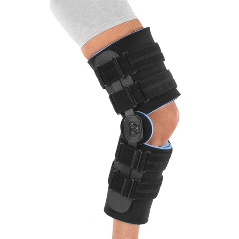 Procare Knee Support Ranger II Long, Trimmable Foam Leg Wraps for Customized Fit, Dual Axis, Polycentric Hinge, Large, Black