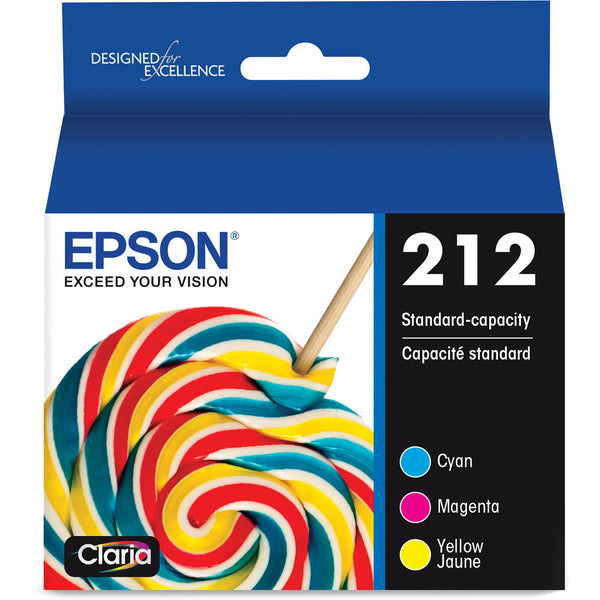 Epson 212 3 Pack Ink Cartridges, Approximately 200 Pages Yield, Cyan, Magenta, Yellow